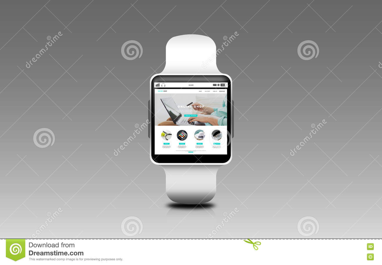 8887c3c0158 Close Up Of Smart Watch With Online Shop On Screen Stock ...