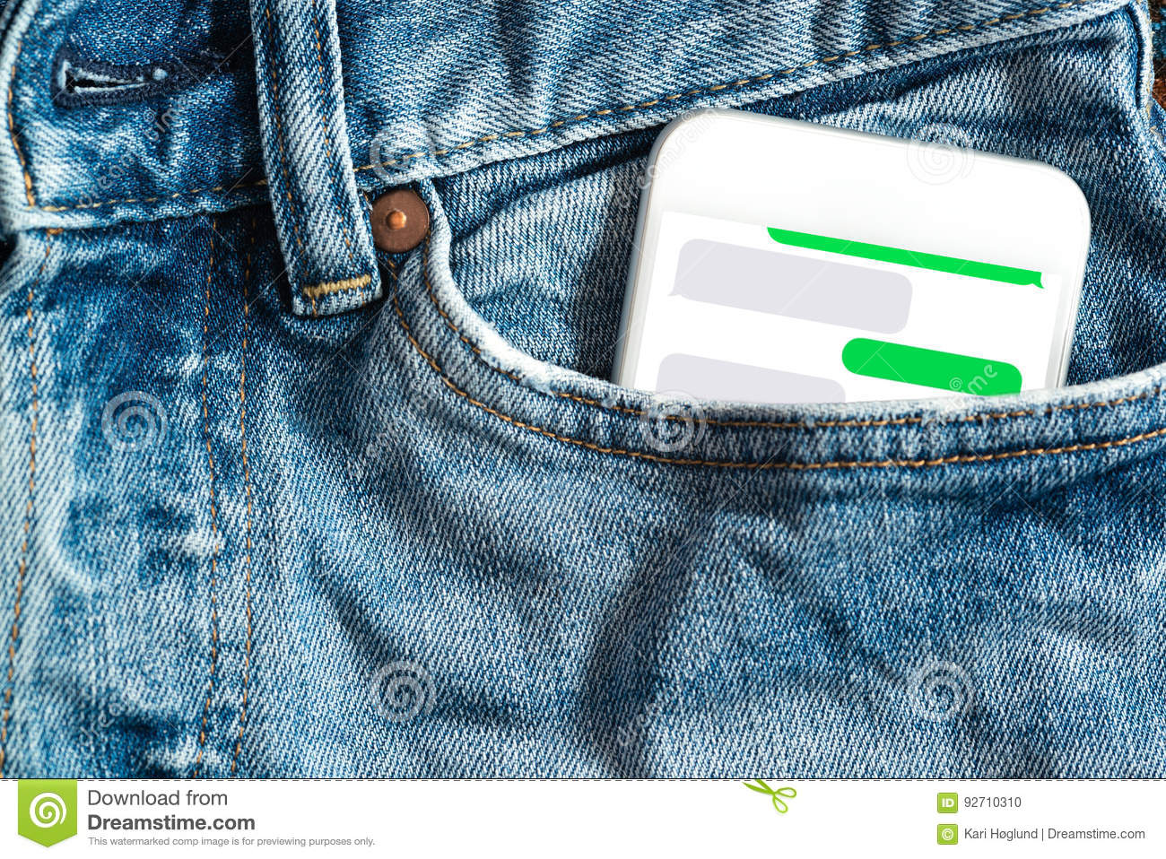 Close Up Of Smartphone In Front Pocket On Pants  Write Your