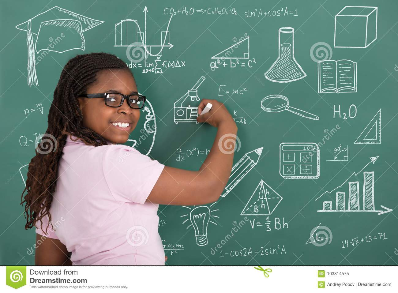 Girl Writing With Chalk On Green Chalkboard Stock Image Image Of