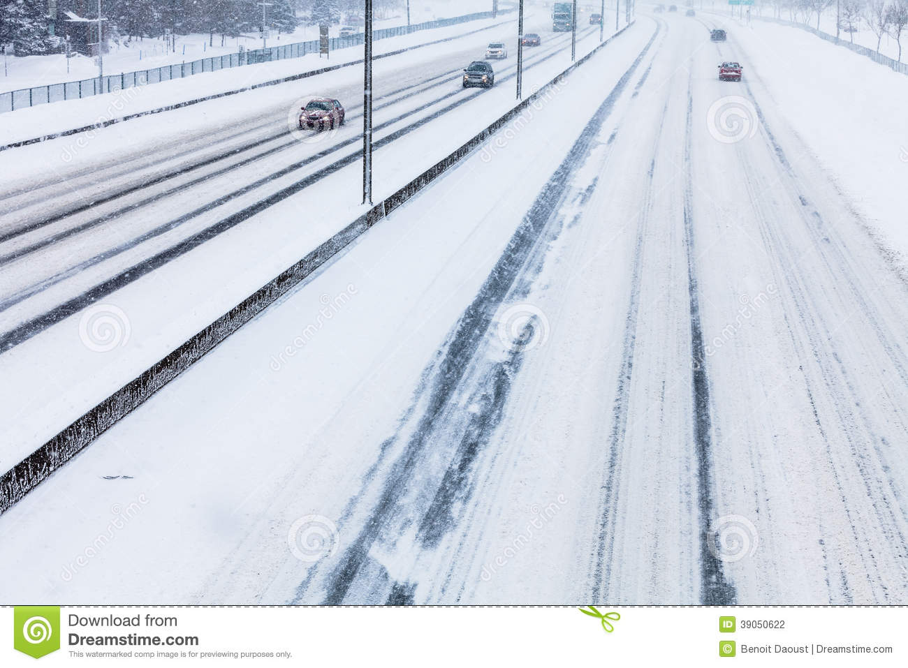 Close-up of Snowy Highway from Above