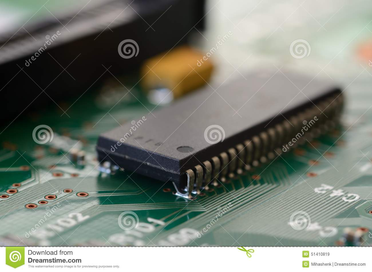 Close Up SOIC With J-type Leads On PCB Stock Photo - Image: 51410819