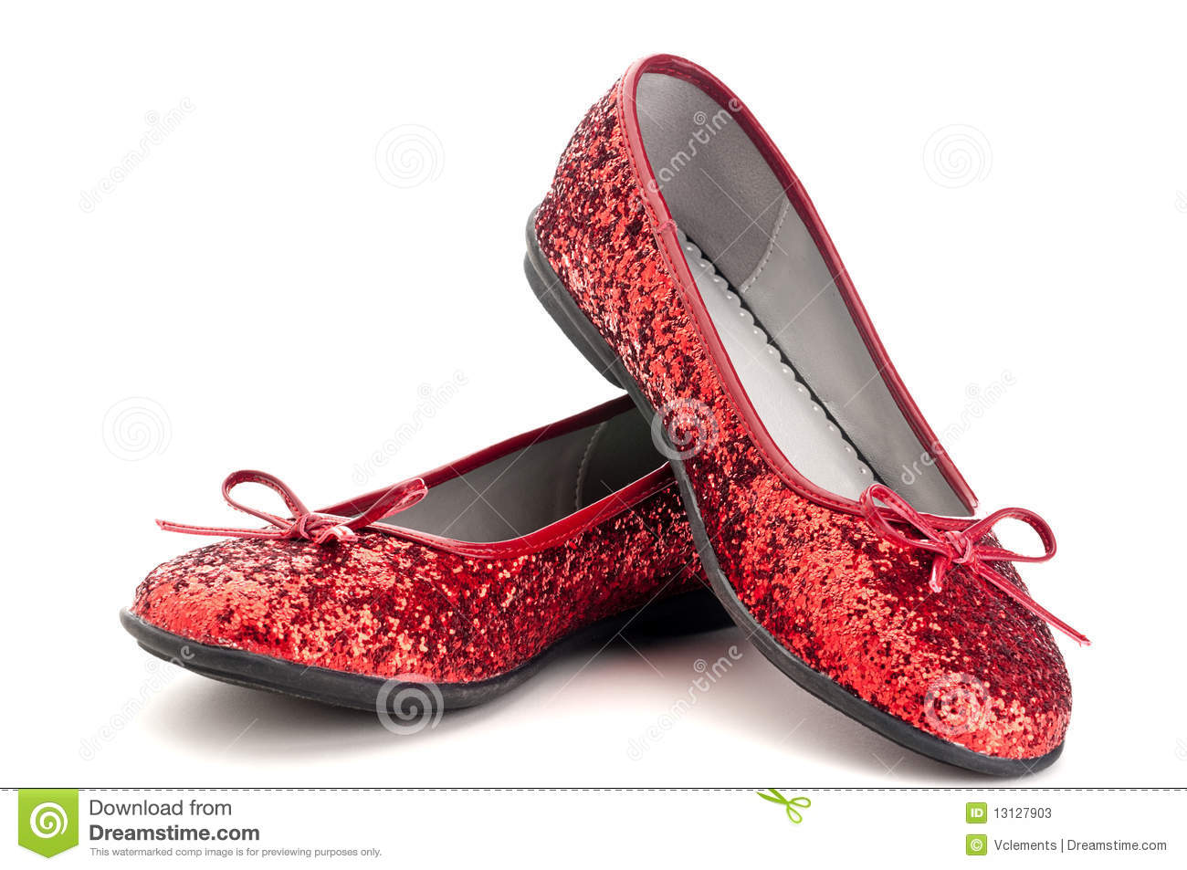 Close up of sparkling red slippers
