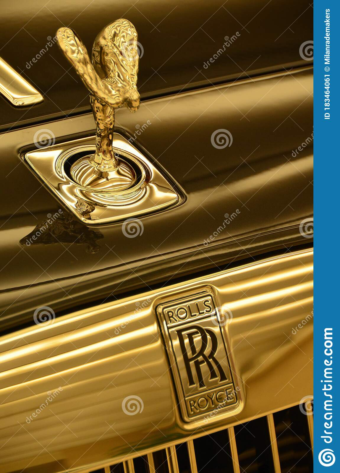 Close Up Of The Spirit Of Ecstasy And Rolls Royce Logo On The Shining Grill On The Front Of A Rr Phantom Car Hong Kong China Editorial Photo Image Of