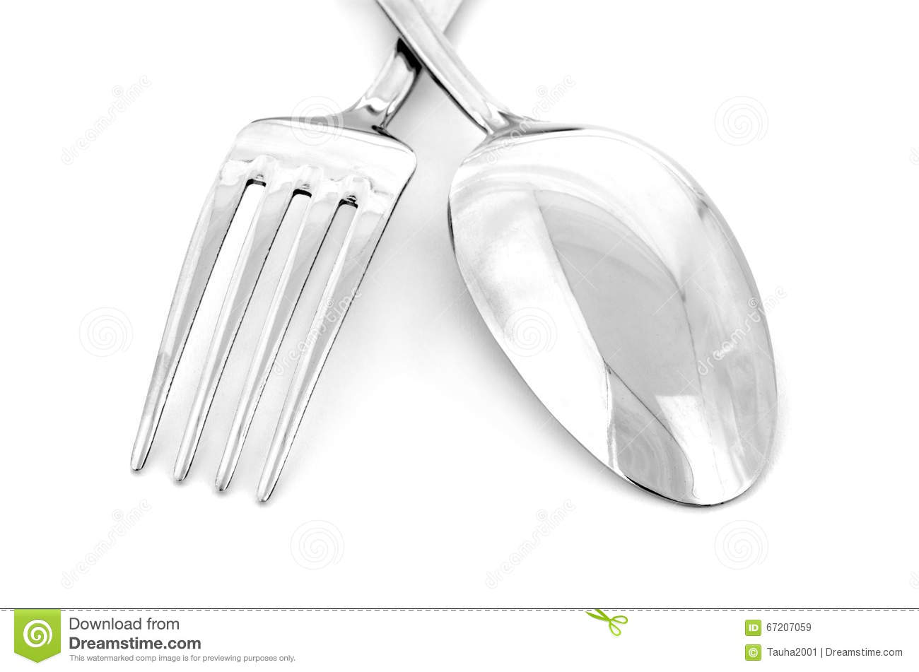 Close Up Of Spoon And Fork Isolated Stock Image Image Of Lunch