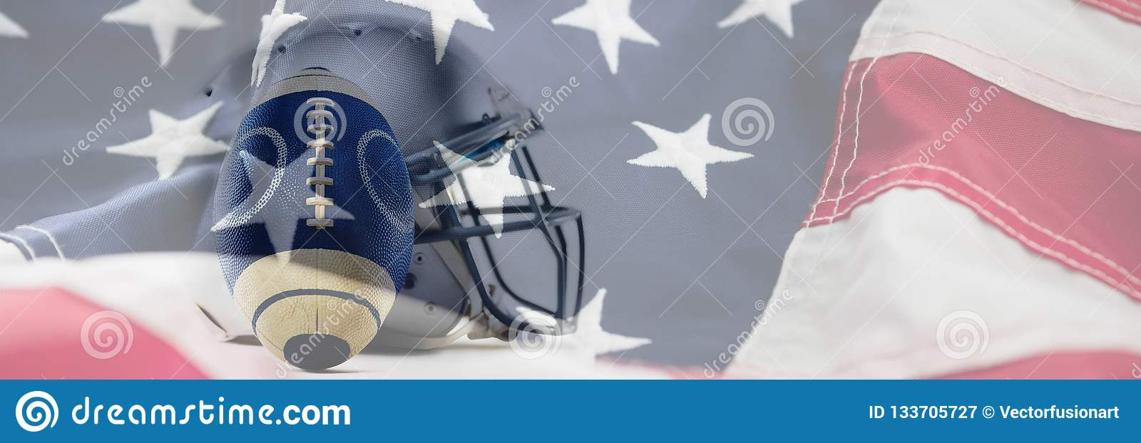 Composite image of close-up of sports helmet and football