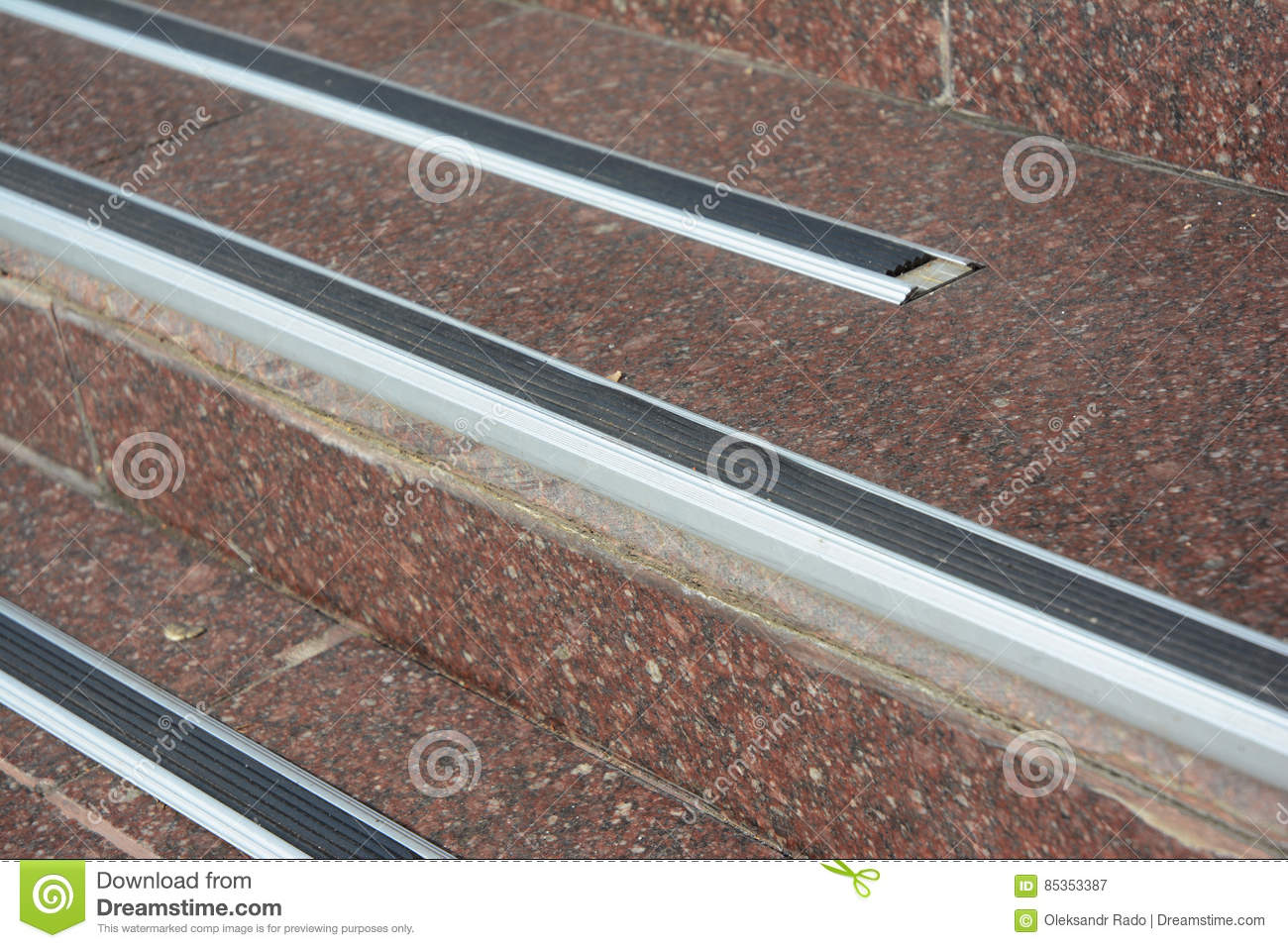Royalty Free Stock Photo. Download Close Up On Stair Treads And Rubber  Landing Tiles Provide Slip Resistant Stair Protection
