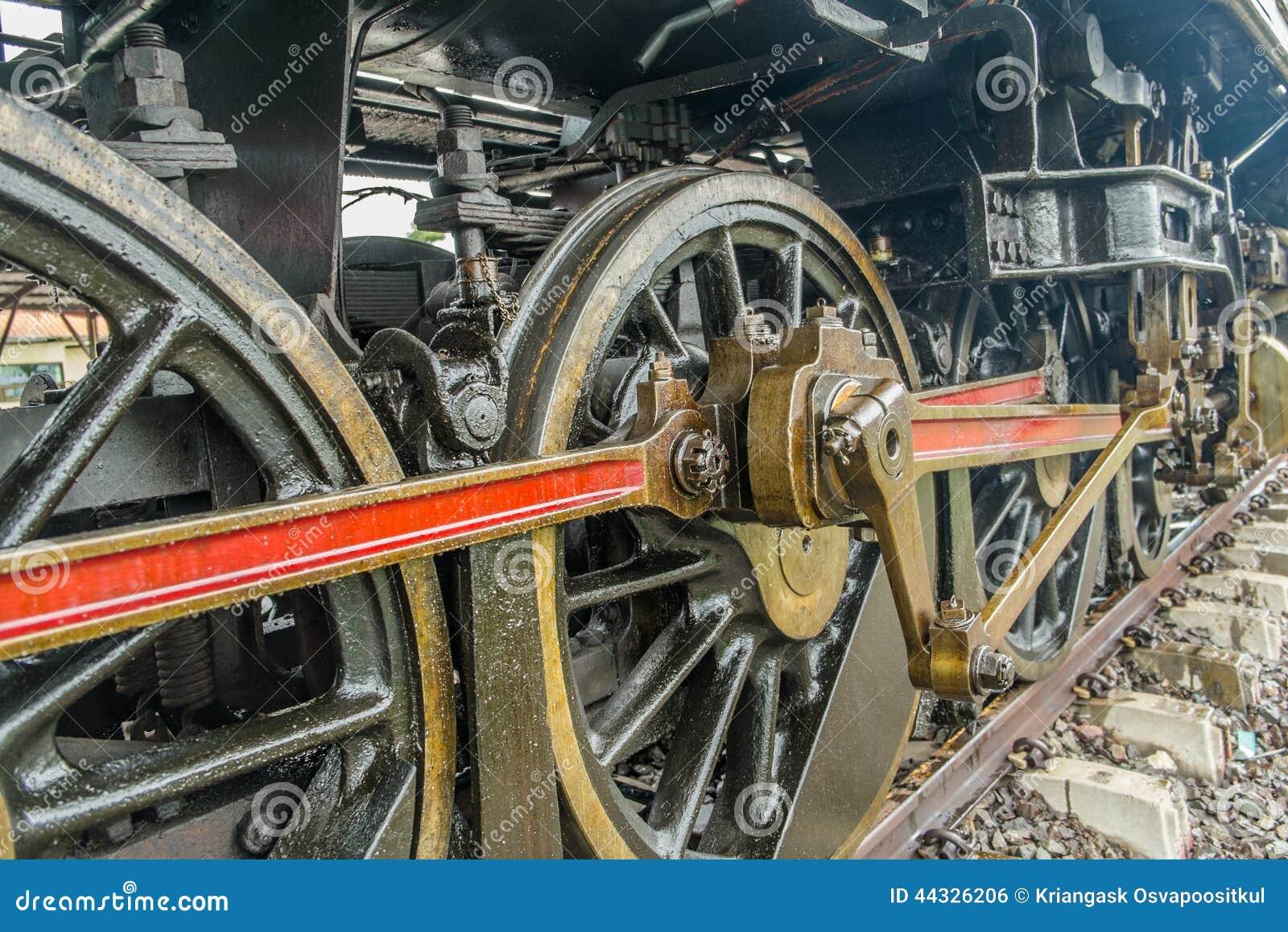 Close Up Of Steam Locomotive Piston And Rod Mechanism Stock