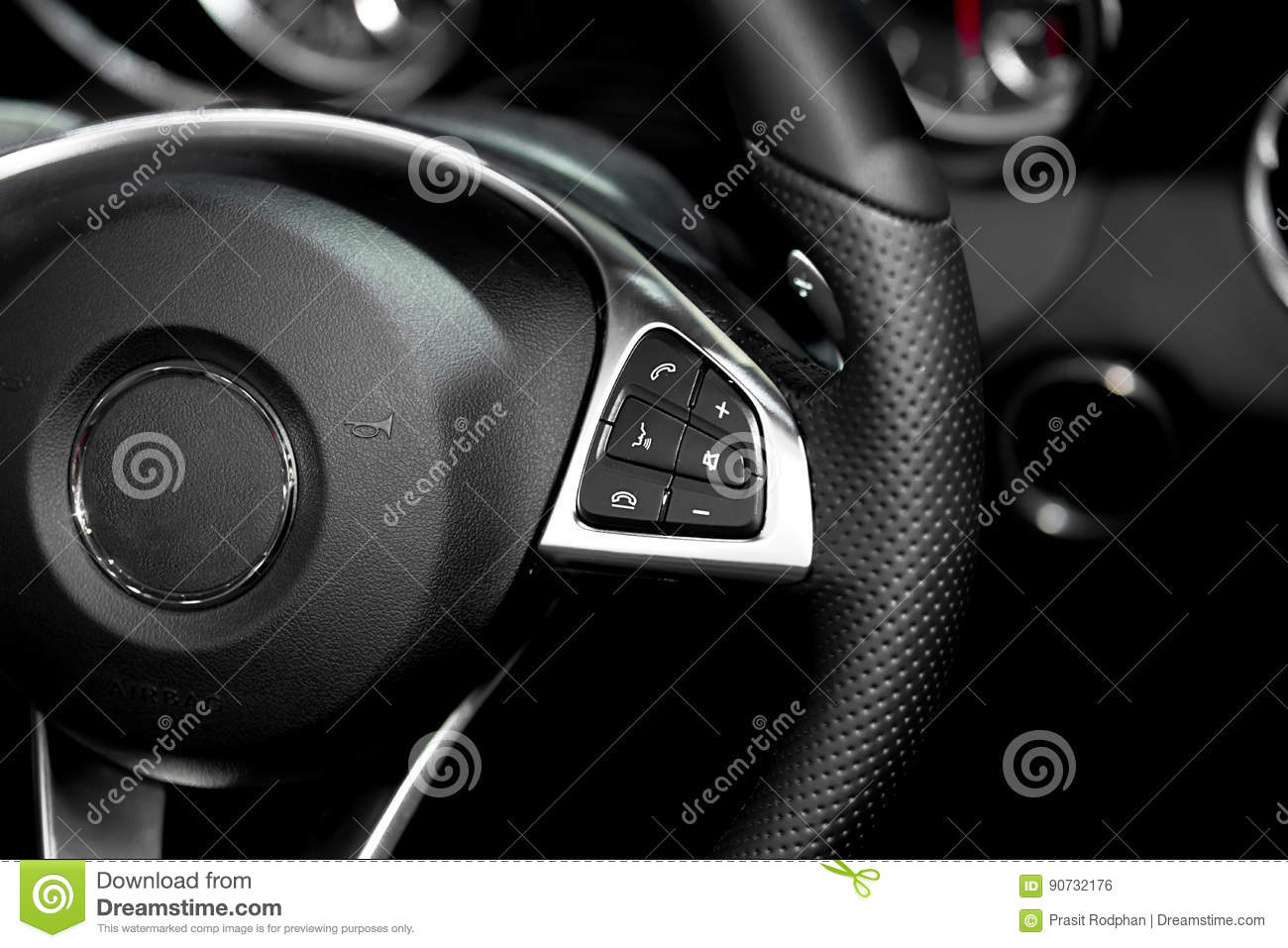 Close up of steering wheel commands in modern luxury car. Interior of car. Smart car.