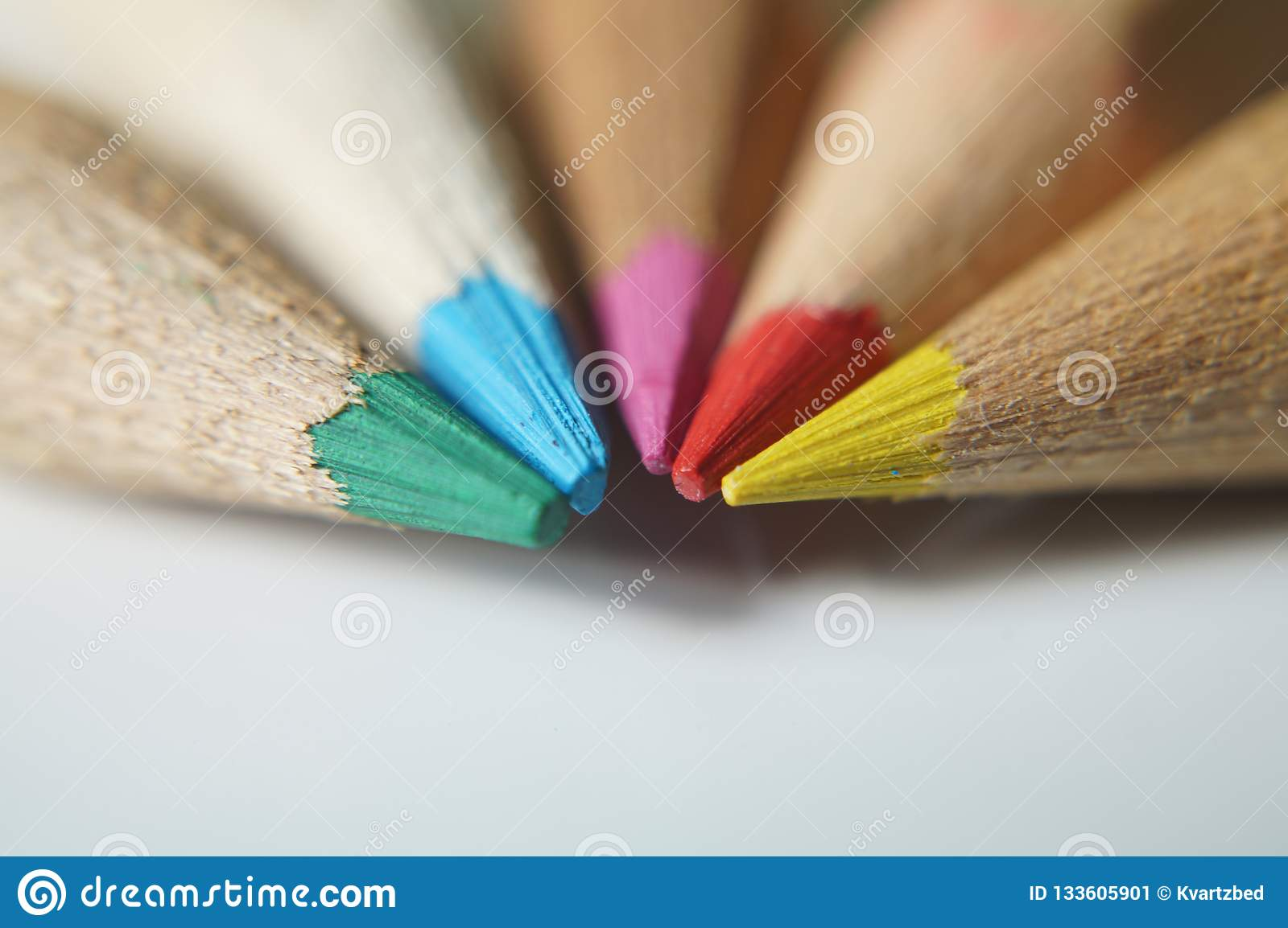 Close up on colored wooden pencils