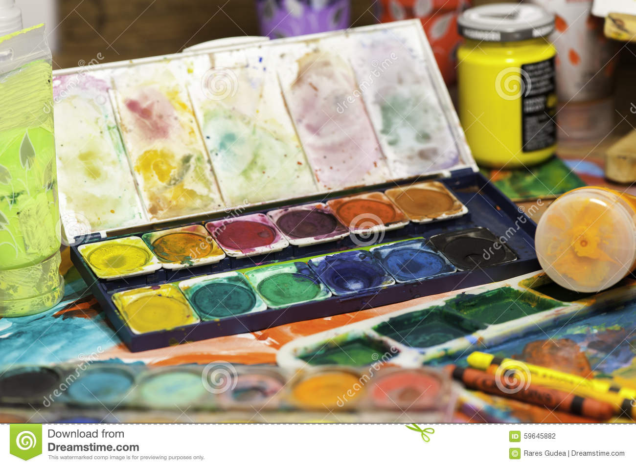 Brushes Close Up And Set Of Watercolor Paints Stock Photo ...