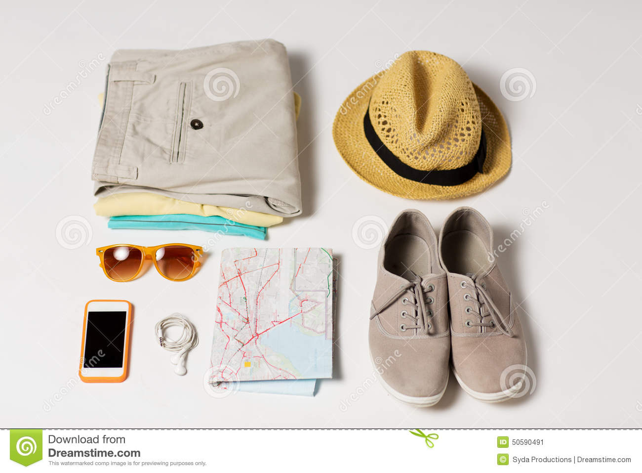 Close Up Of Summer Clothes And Travel Map On Table Photo – Personal Travel Map