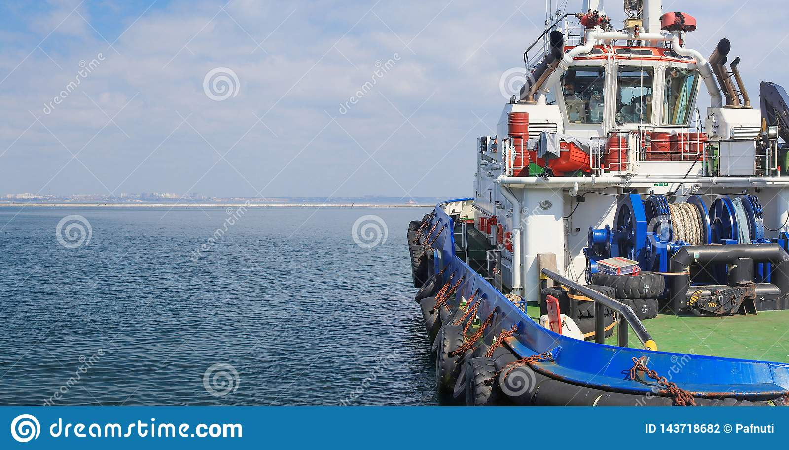 Close-up of a supply vessel transporting cargo