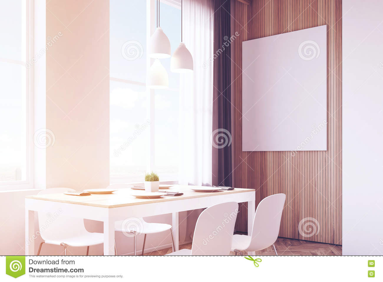 Picture of: Close Up Of Table With Chairs Wood Toned Stock Illustration Illustration Of Display Interior 82657375
