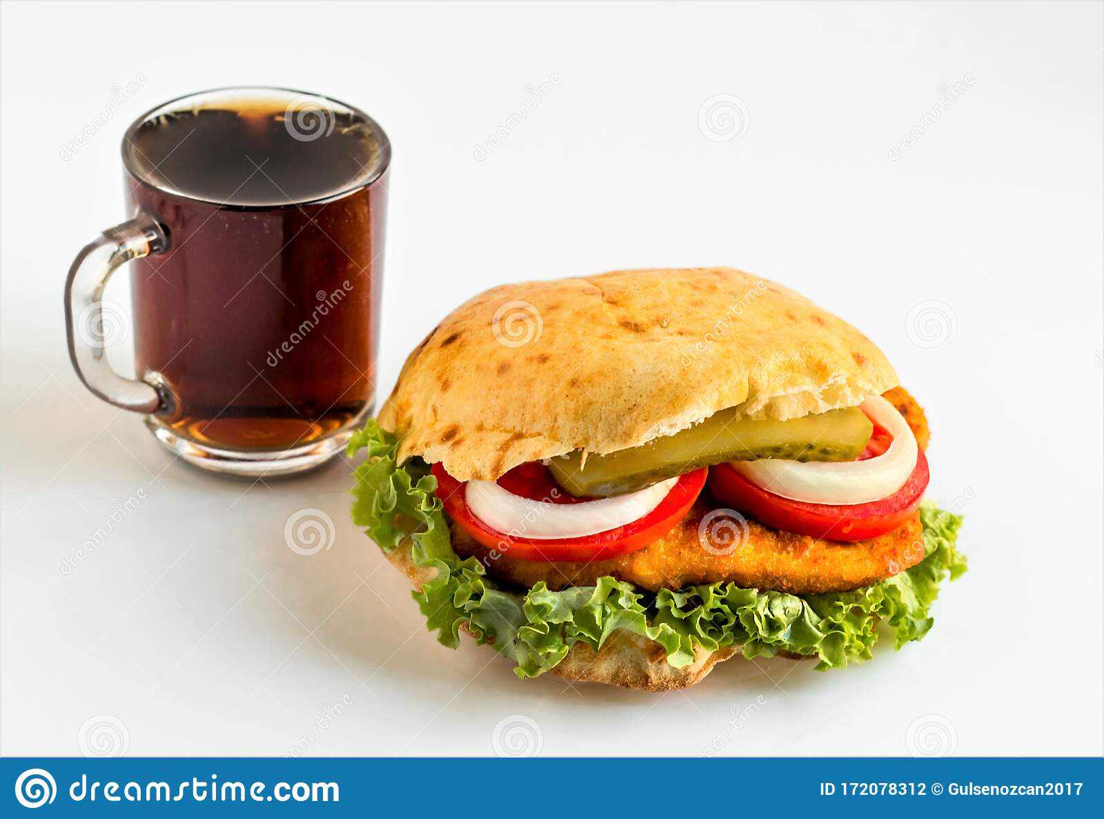 Fried Chicken Schnitzel Burger With Tomato Lettuce Leaf Stock Photo Image Of Culture Delicious 172078312