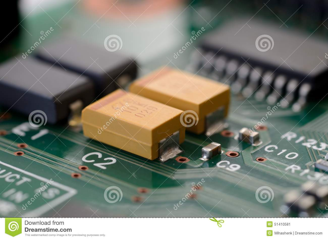 Close up tantalum capacitors on PCB