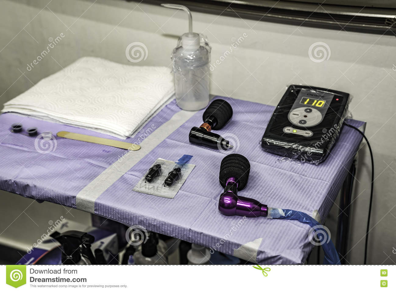 Close Up Tattoo Tools Machinery Needles And Ink Stock Image