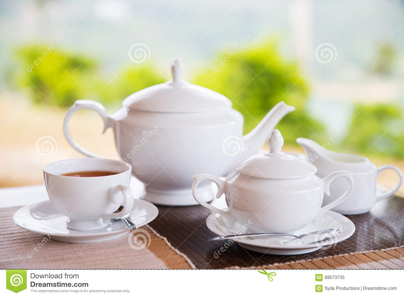 close up of tea service at restaurant or teahouse stock photo image 69573735. Black Bedroom Furniture Sets. Home Design Ideas