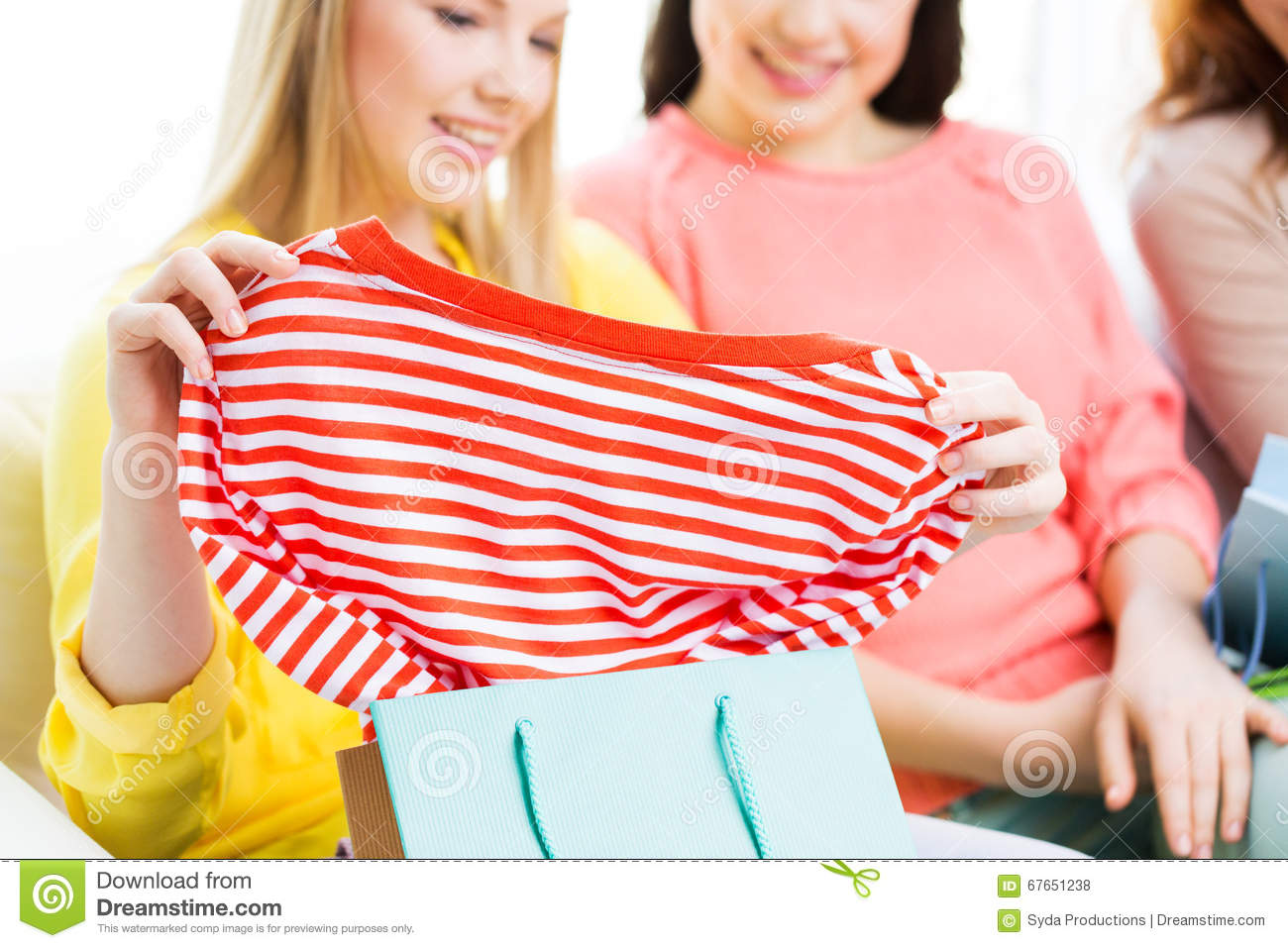 Happy Teen Girls After Shopping Clothes Stock Photography 12048182