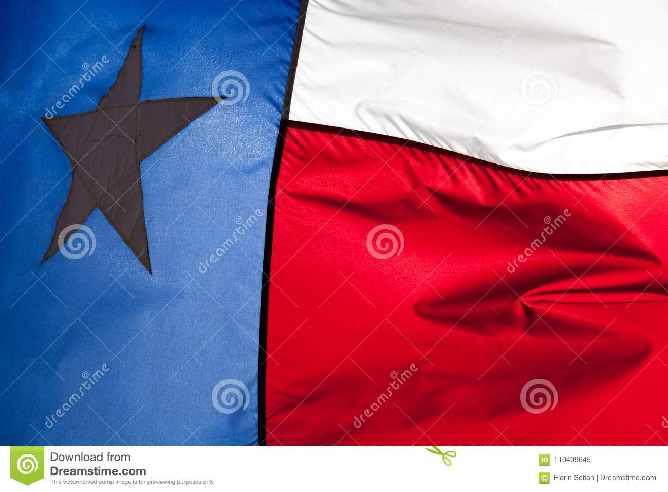 Close up of Texas flag waving in the wind