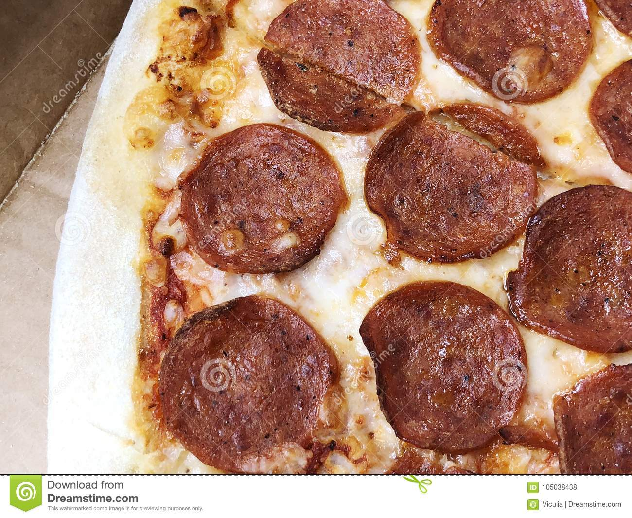 Close-up thinly sliced pepperoni on fresh Italian classic original Pizza.