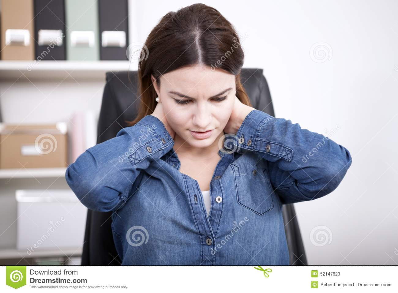 Close up Tired Office Woman Holding her Neck