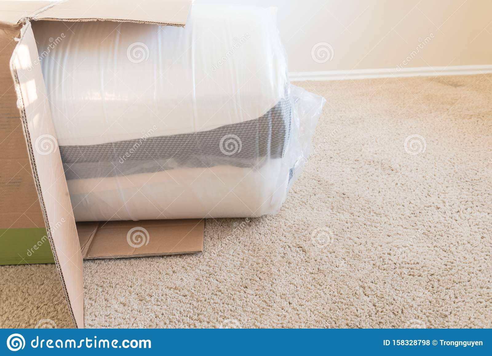 Close Up Top View Roll Packed Spring Mattresses Unbox On Carpet Floor Background Stock Photo Image Of Mattress Bedroom 158328798