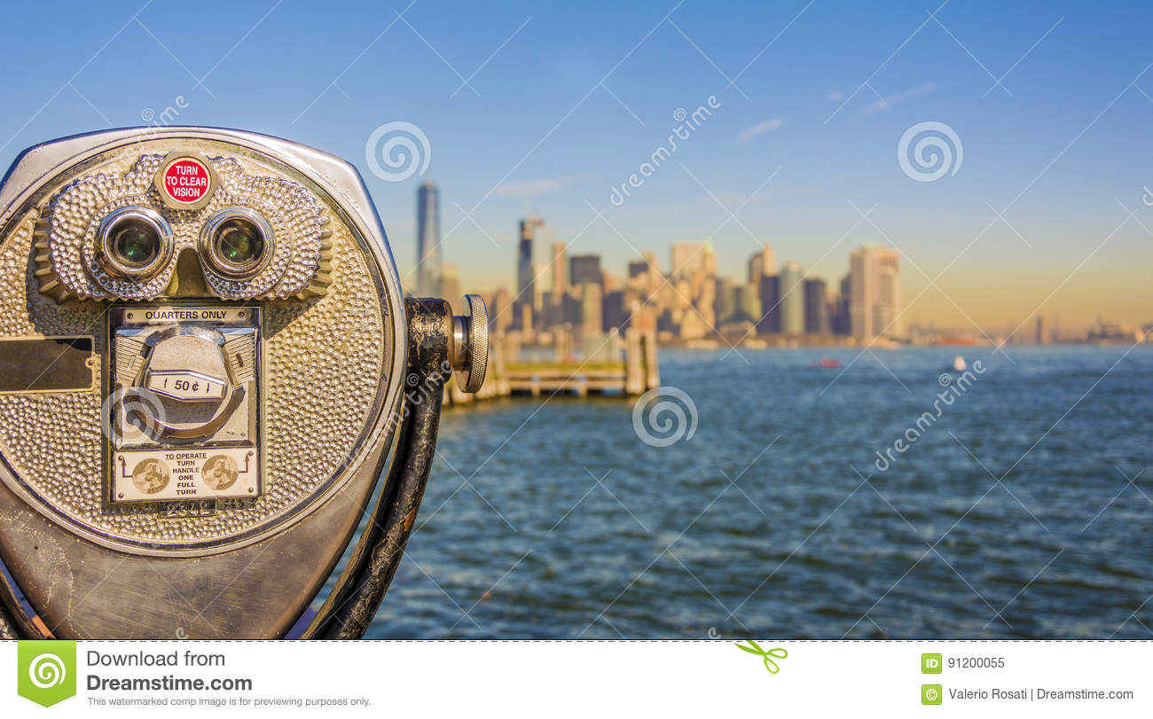Close Up Of Tower Viewer Binoculars With Blurred New York ...