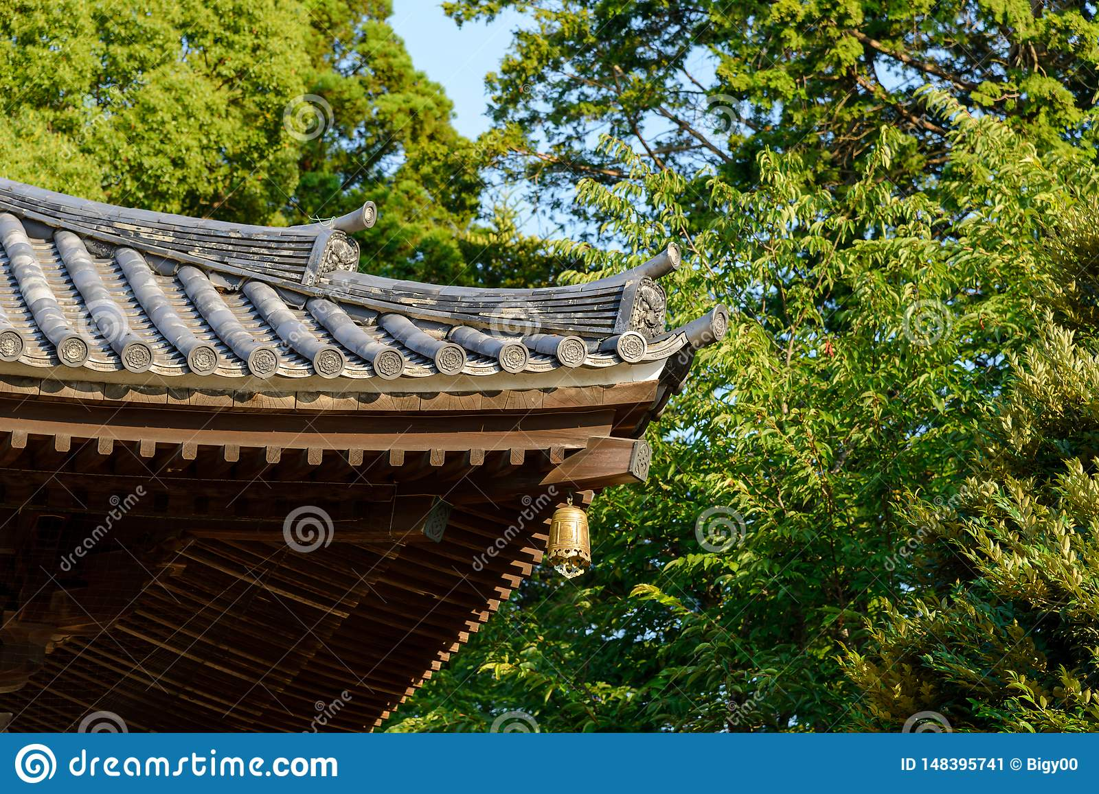 Traditional Japanese Temple Or Shrine Roof With Ancient Bell Japan Stock Image Image Of Design Tourism 148395741