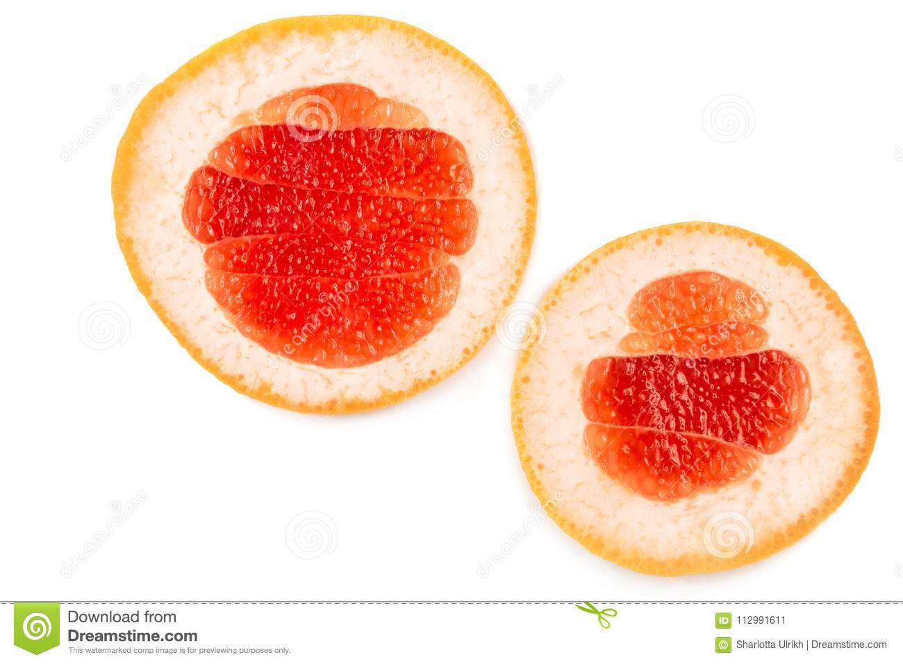 Close-up two halves of a delicious grapefruit isolated over the white background.