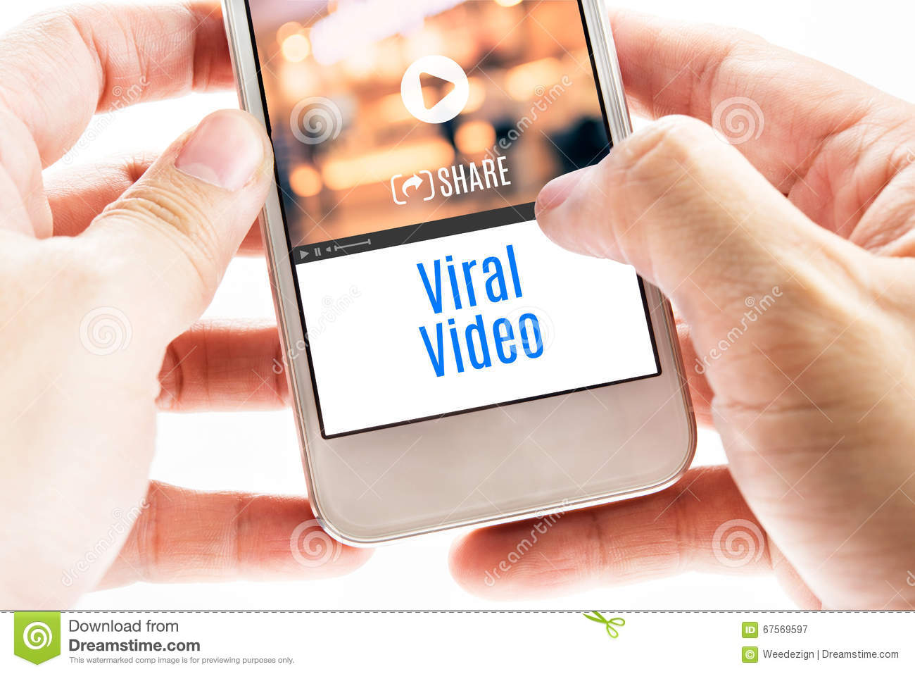 Close up Two hand holding smart phone with Viral Video word and
