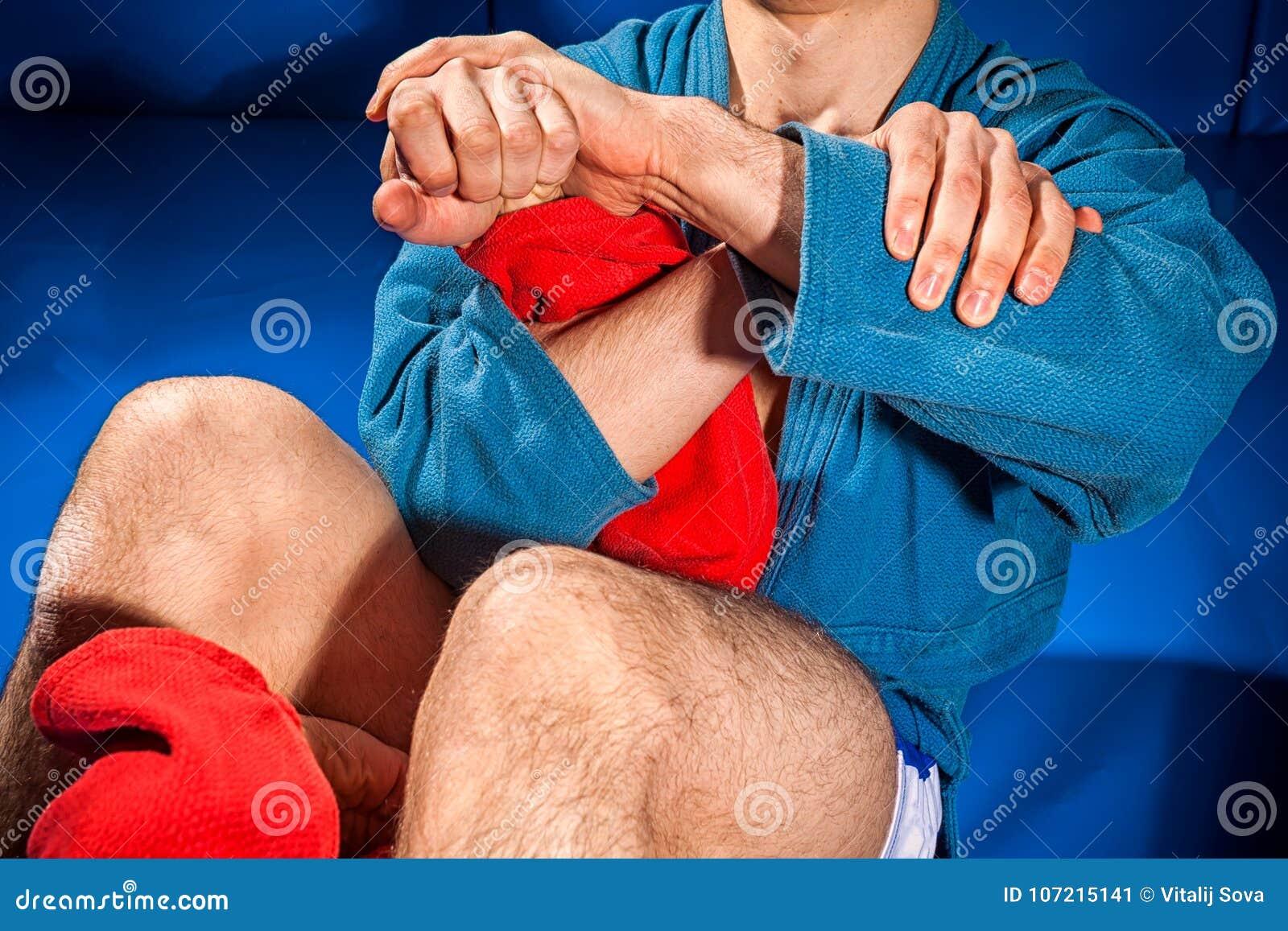 Man wrestler makes submission wrestling