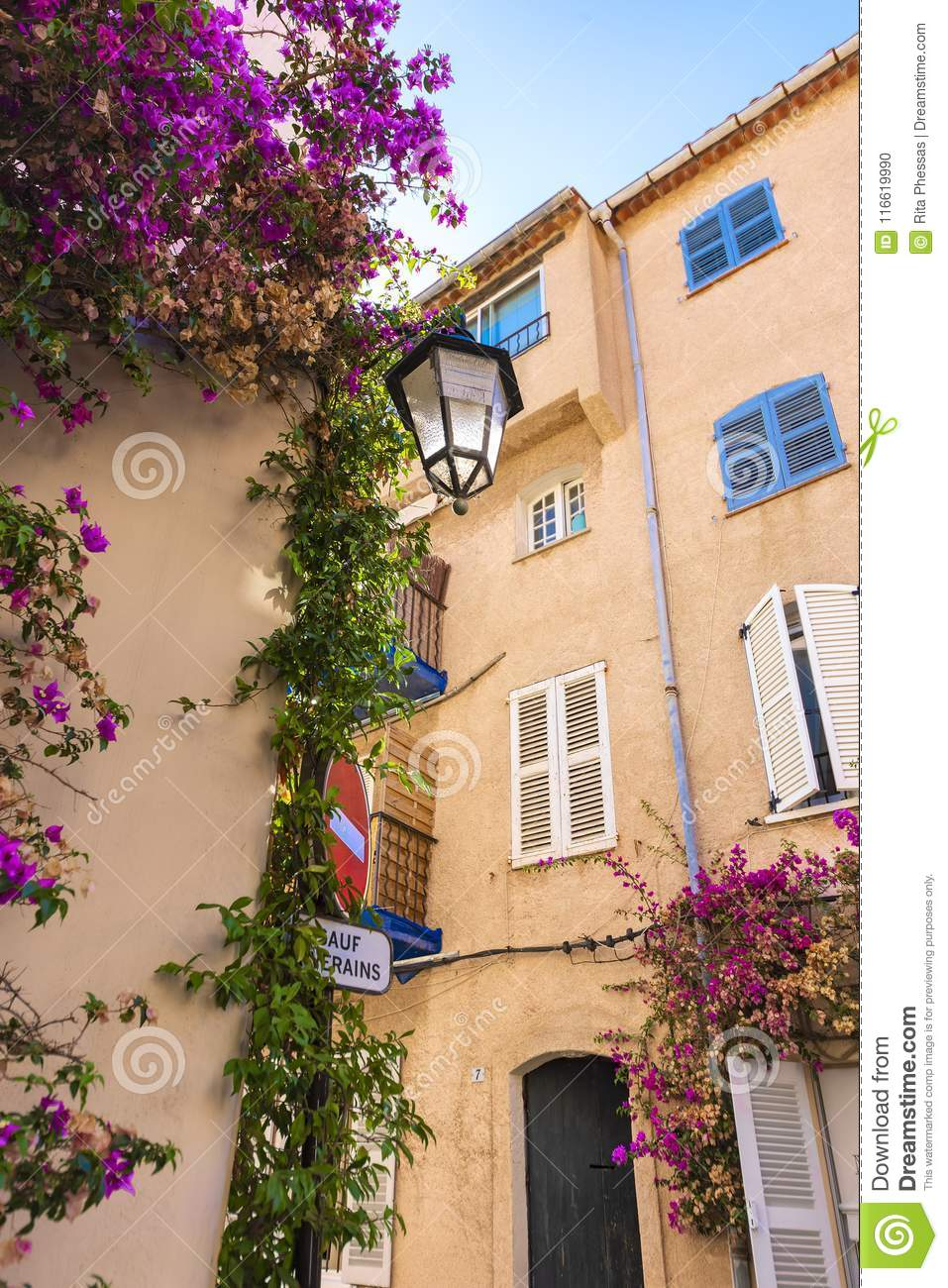 Close-up of a typical French Mediterranean corner, with its pink facades and buildings, tendrils with purple oliander flowers an o