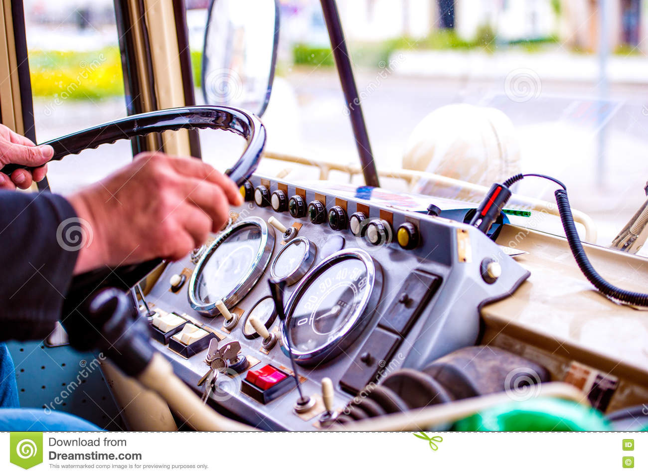 Close Up Unrecognizable Man Driving A Veteran Car Stock Photo ...