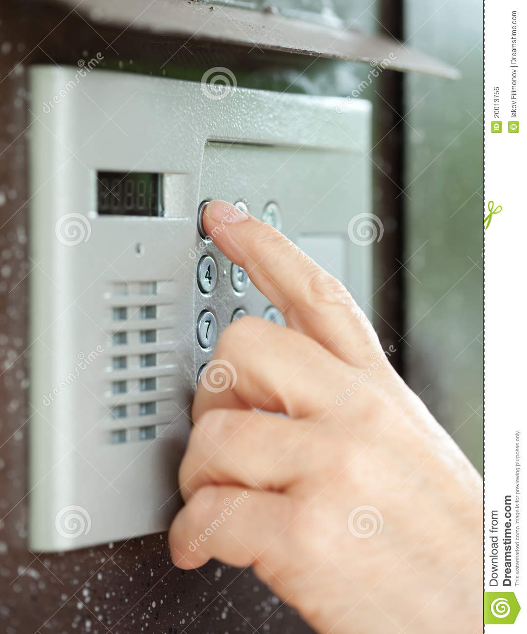 Close Up Of Using Intercom Stock Photo Image 20013756
