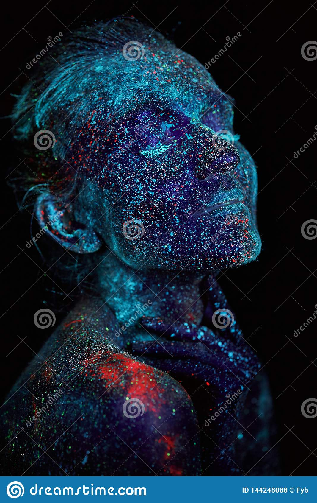Close up UV abstract portrait outer space