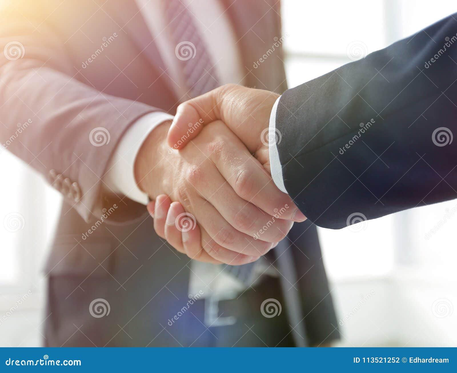 Close-up van Bedrijfsleider Shaking Partner Hand