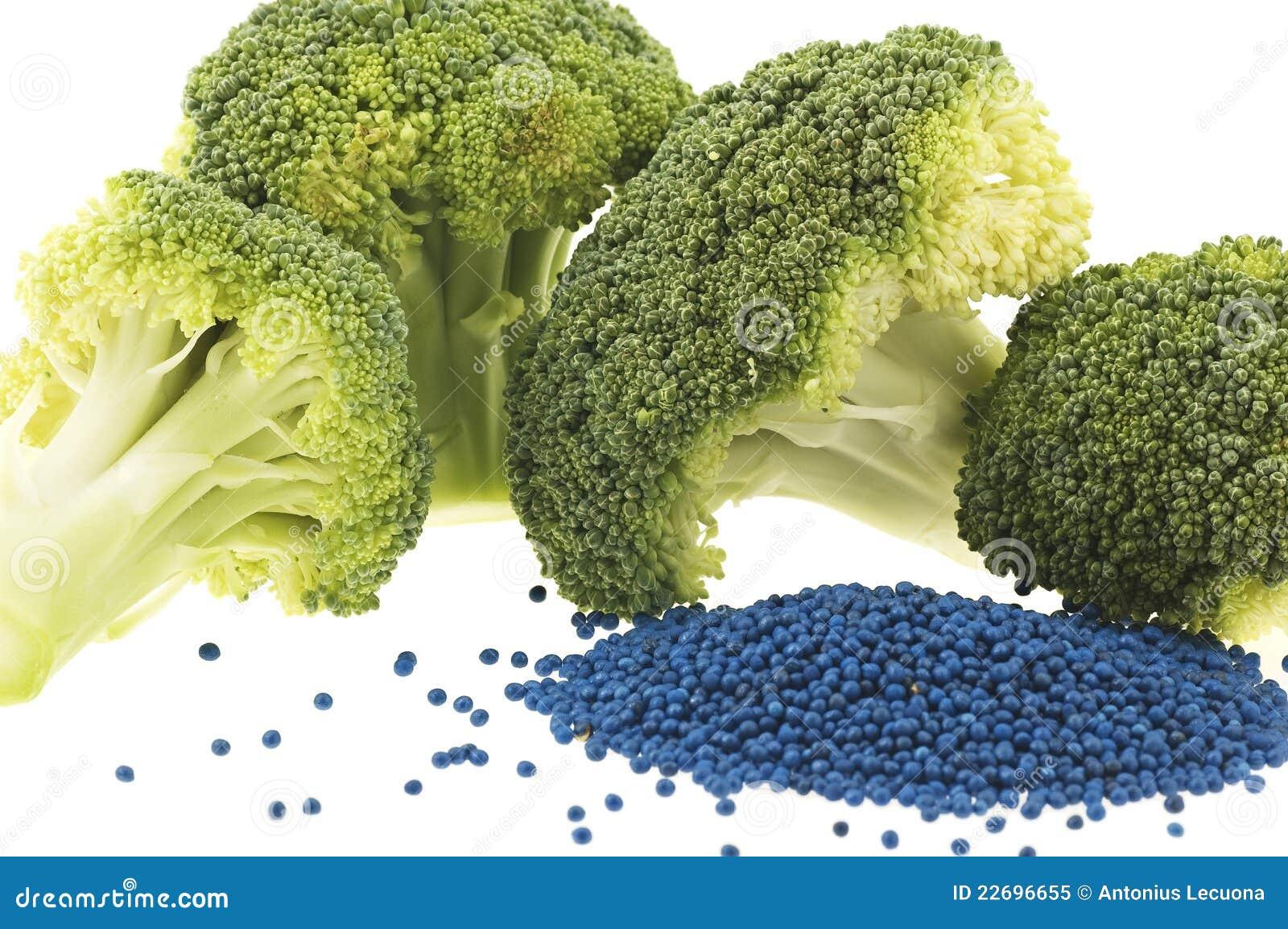 Close-up van broccolibloemen en zaad