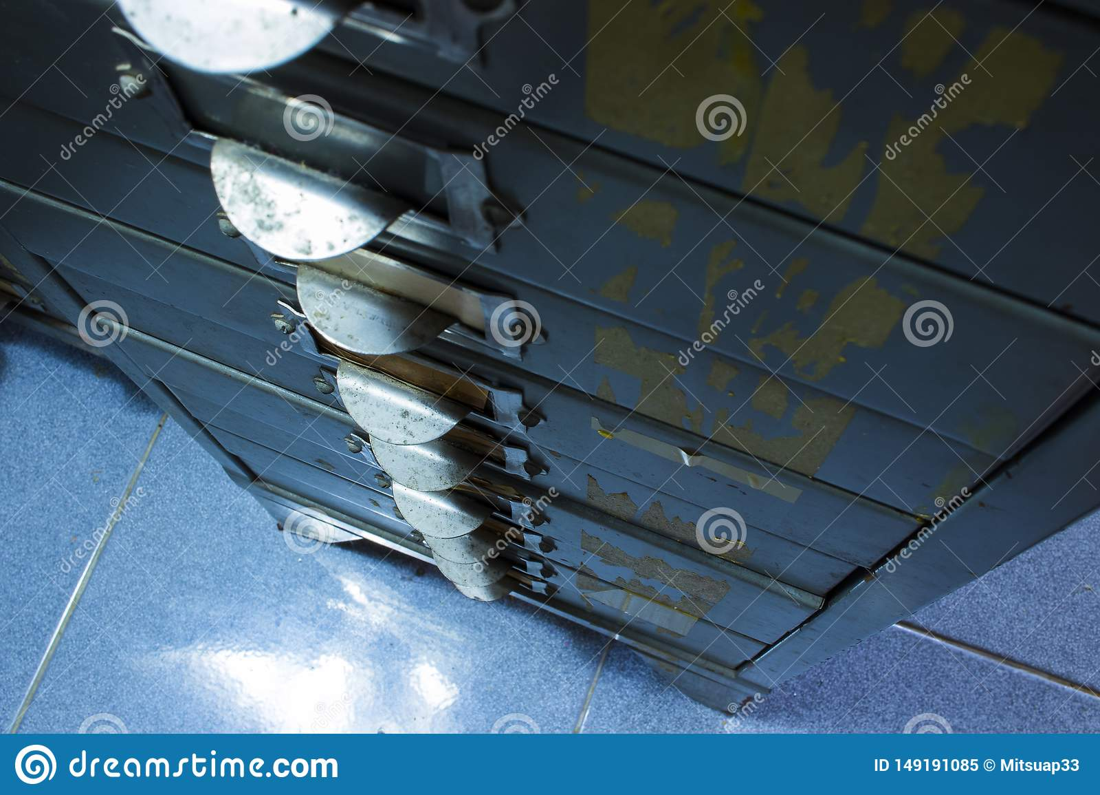 Close-up van de Rijen van de Staal archiefkast van dossierkabinet, documentlade