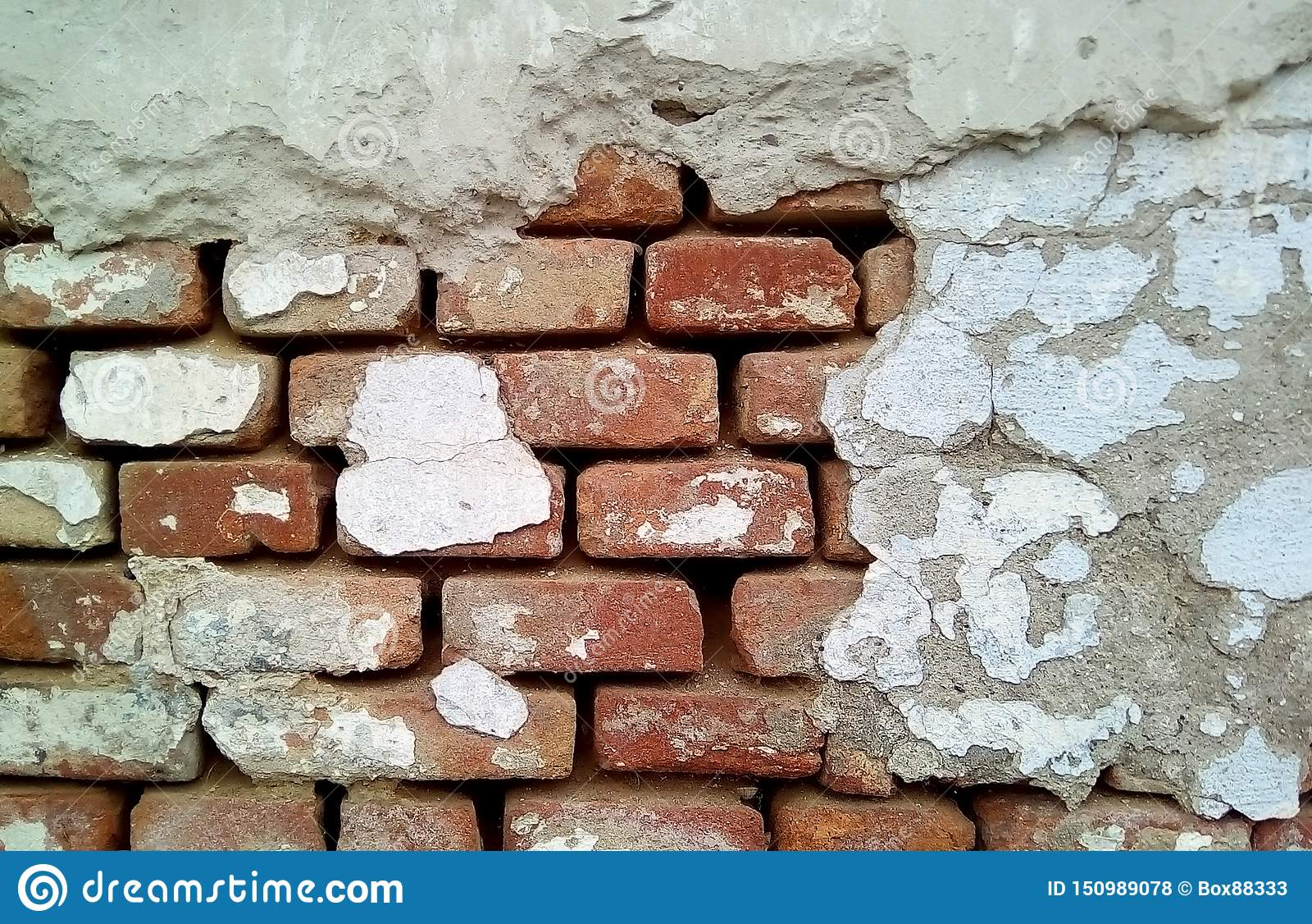 Close-up van een deel van een bakstenen muur