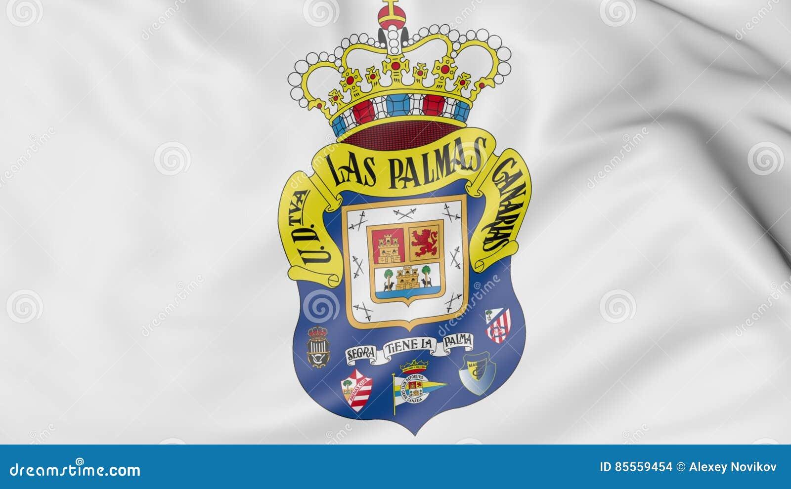 Close-up van golvende vlag met UD-de clubembleem van de Las Palmasvoetbal, het 3D teruggeven