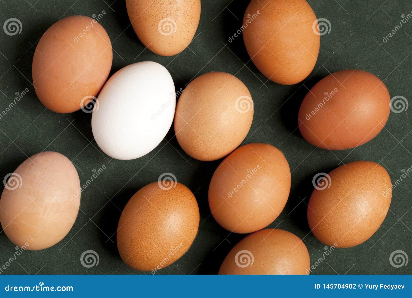 Close-up van het eiwit, bruine en witte ei van kippeneieren op groene achtergrond