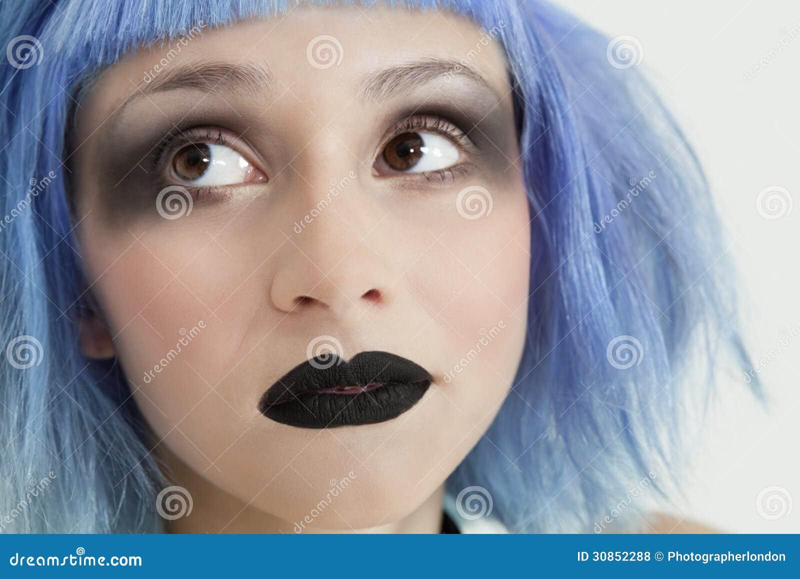 close up van jonge vrouwelijke punker met zwarte. Black Bedroom Furniture Sets. Home Design Ideas