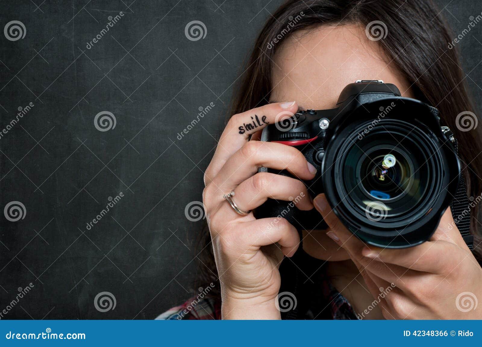 Close-up van Vrouw met Camera