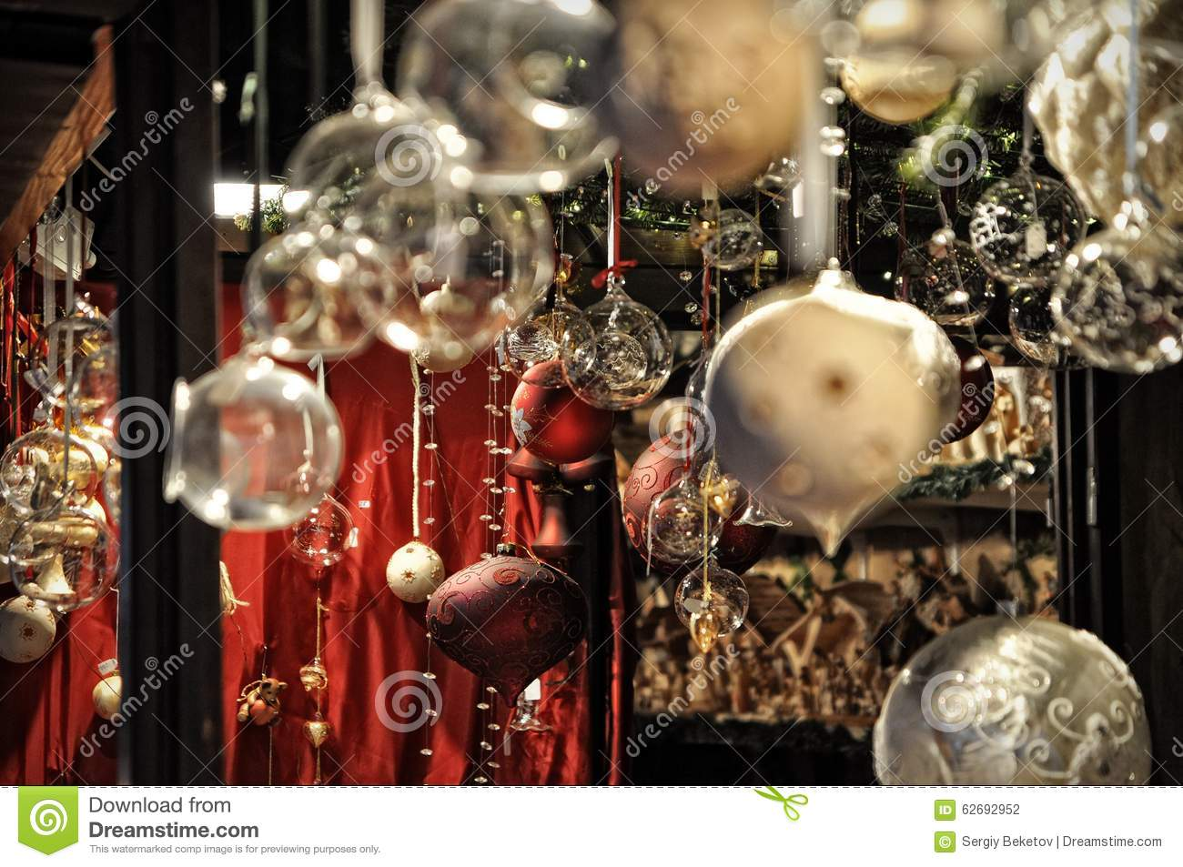 Close up of variety christmas decorations on sale at the for Christmas sale items