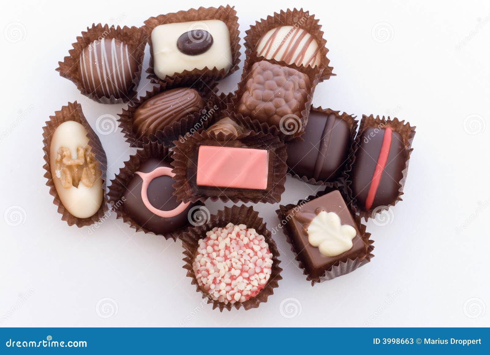 Close up of various colorful chocolat bonbons 4