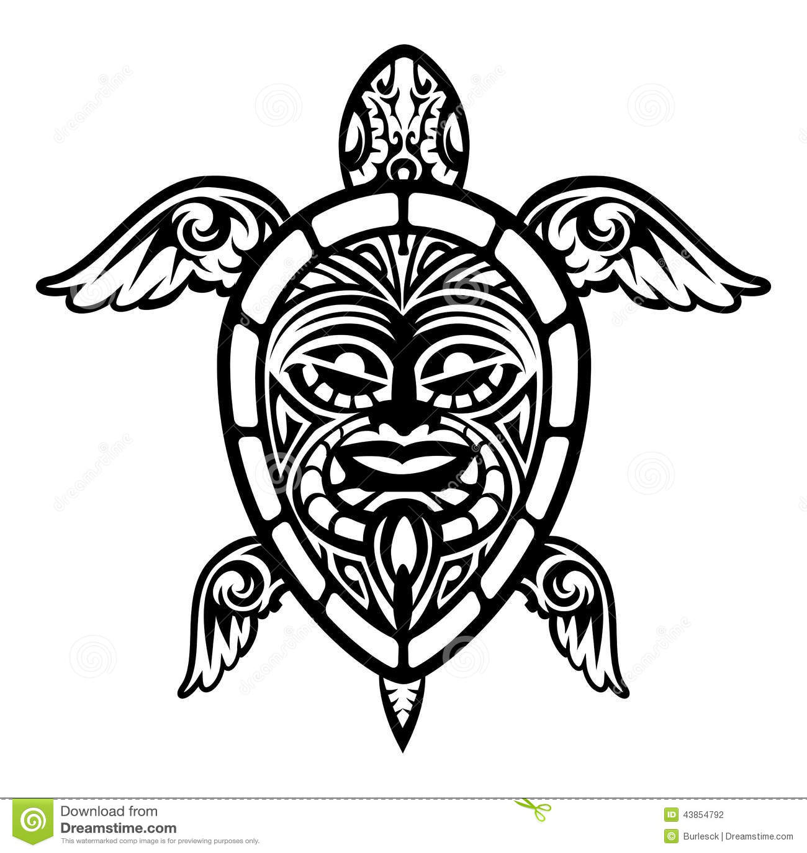 Close Up Vector Turtle Polynesian Tattoo Stock Vector