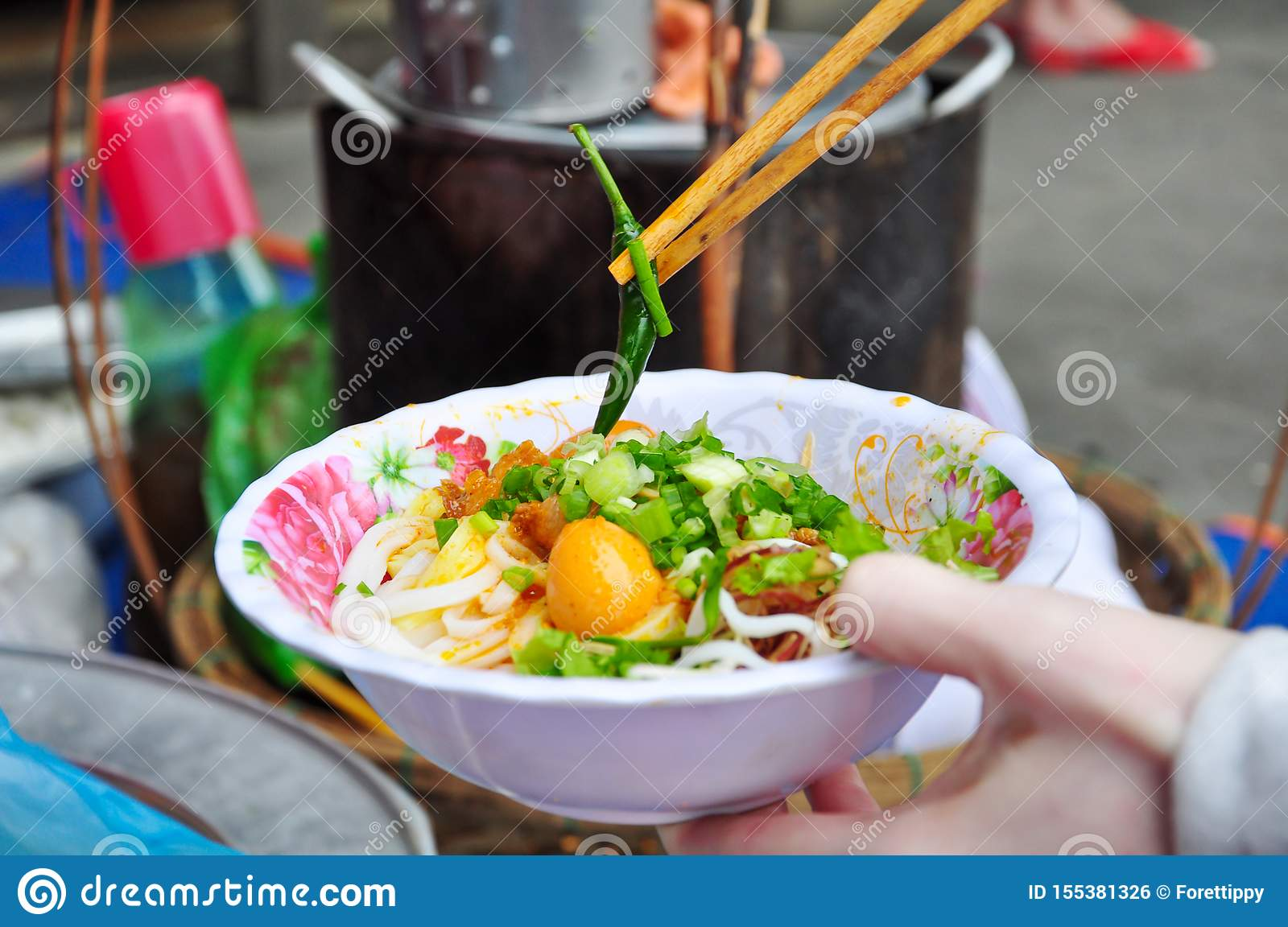 Close Up Of Vietnam Soup Or Pho With Fresh Green Chili. Stock Photo