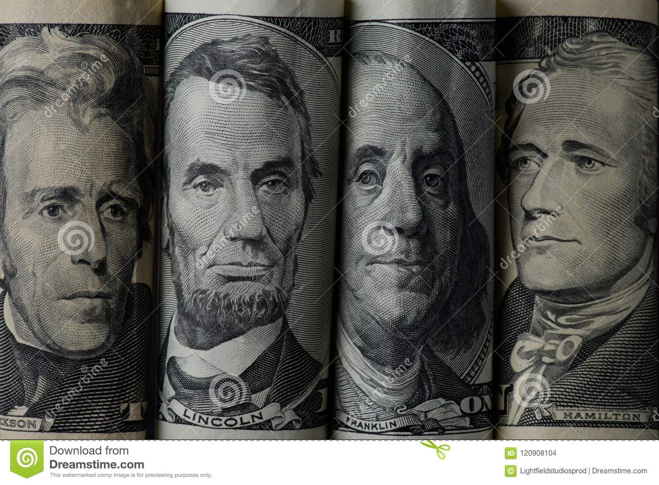 close up view of american presidents