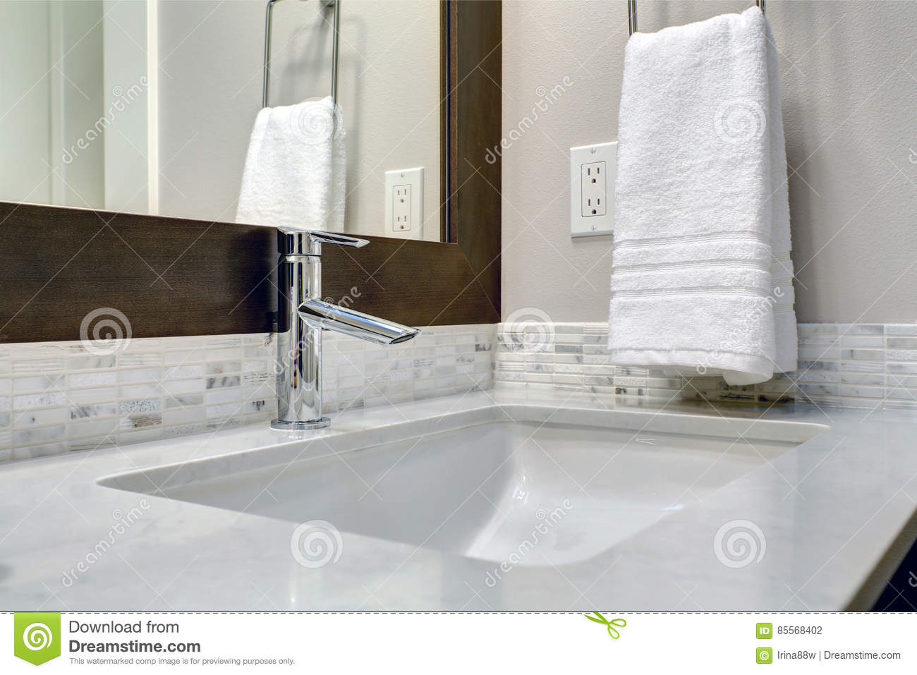 Close-up View Of Bathroom Vanity Stock Photo - Image of room ...