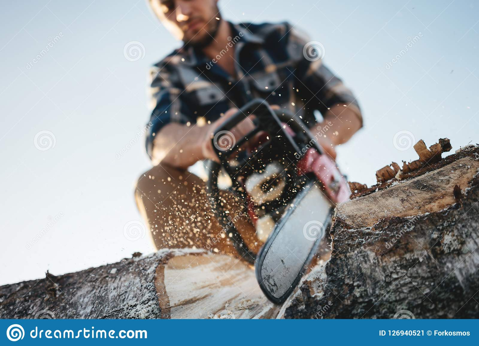 Close up view on bearded strong lumberjack wearing plaid shirt sawing tree with chainsaw for work on sawmill